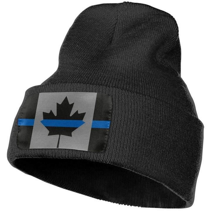 a99d9dbd3 SuFuncc Classic Thin Blue Line Canada Flag Police Warm Winter Beanie Hat  Acrylic Knit Cuff Beanie Cap