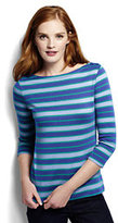 Classic Women's 3/4 Sleeve Cotton Boatneck Top-True Navy Watercolor Floral
