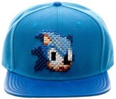 Bioworld Sega Sonic Digi Don't Blink Snapback Pixel PU Faux Leather Baseball Hat Cap