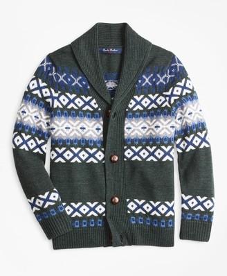 Brooks Brothers Boys Merino Wool-Blend Shawl Collar Sweater