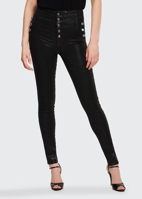 J Brand Natasha Sky High Skinny Coated Jeans
