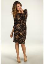 Anne Klein Leaf Print Faux Wrap Dress (Chocolate Brown/Cappuccino) - Apparel