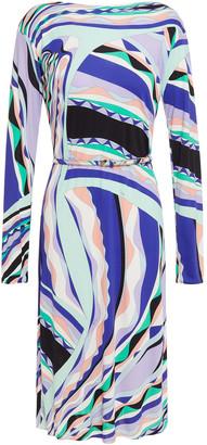 Emilio Pucci Belted Printed Stretch-jersey Dress