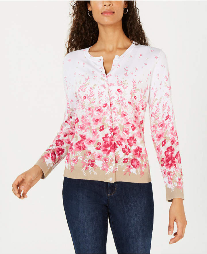 Karen Scott Allover Floral-Print Cardigan Sweater