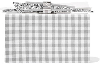 Edie Parker Wolf Gingham Cotton And Glittered Acrylic Box Clutch