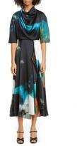 Roksanda Watercolor Print Cowl Neck Silk Midi Dress