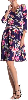 Loveappella Floral Surplice Dress
