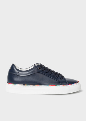 Women's Navy Leather 'Basso' Trainers With 'Swirl' Rand