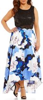 Jodi Kristopher Plus Floral Print Two-Piece High-Low Dress