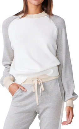 Monrow Colorblock Mock-Neck Sweater