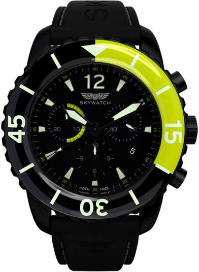 Green & Black Skywatch 44mm Chronograph Watch