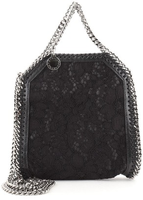 Stella McCartney Falabella Fold Over Crossbody Bag Lace Over Faux Leather Tiny