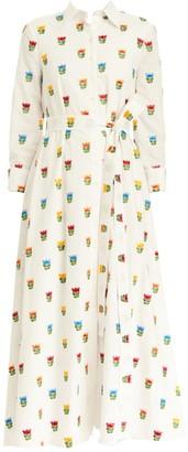 Carolina Herrera Embroidered Floral Belted Shirtdress