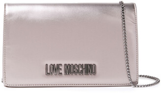 Love Moschino Embellished Metallic Faux Leather Shoulder Bag