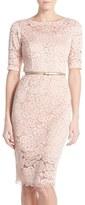 Ellen Tracy Women's Belted Lace Sheath Dress