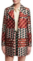 RED Valentino Geometric-Print Jacquard Topper Jacket, Rust