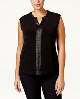 Calvin Klein Plus Size Faux Leather-Trim Cap-Sleeve Top
