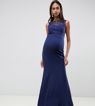 Little Mistress Maternity embellished neck pleated maxi dress in navy