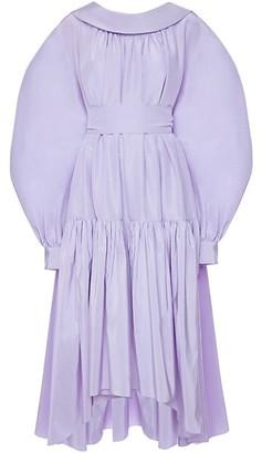 Alexander McQueen Puff-Sleeve Cotton & Silk High-Low Midi Dress
