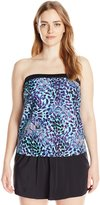 Maxine Of Hollywood Women's Plus-Size Serengeti Bandeau Swim Dress Swimsuit