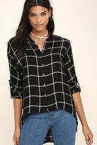 LuLu*s Exact Coordinates White and Black Grid Print Top