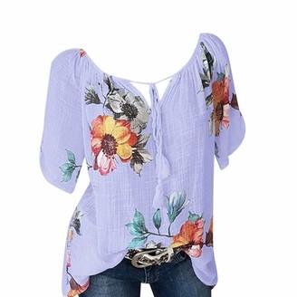 Lazzboy Women Top T-Shirt Floral Flower Print Crepe Plus Size Lace-up Blouse Short Sleeve Ladies Tops Shirt Tee(M(10)