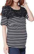 Sweet Mommy Maternity and Nursing Lace Shoulder Stripe Short Sleeve Tee Shirt WHBKL