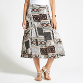 Apricot Multi-coloured Patchwork Print Midi Skirt