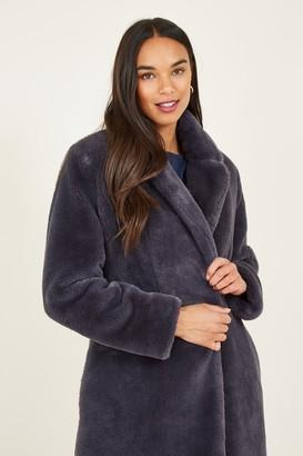 Yumi Grey Longline Faux Fur Coat