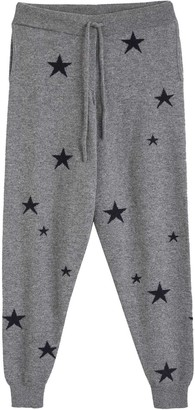 Chinti and Parker Light-grey Star Cashmere Track Pants