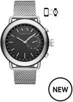 Armani Exchange Armani Exchange Mens Hybrid Smartwatch Stainless Steel Case, Mesh Bracelet With Black Dial