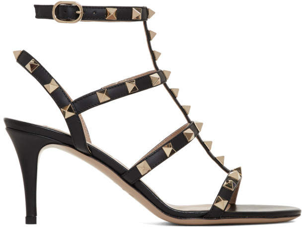 Valentino Black Garavani Rockstud Cage Heeled Sandals