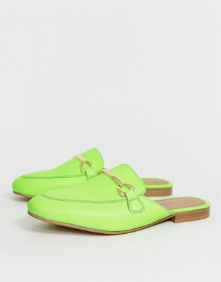 ASOS DESIGN Moves leather mule loafers in neon green