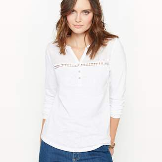 Anne Weyburn Grandad Collar T-Shirt in Cotton Slub