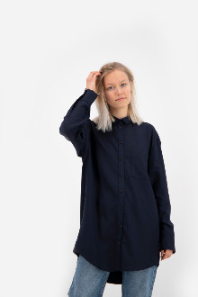 Hutspot - Navy Oversized Shirt - S - Blue