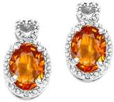 Tommaso design Studio Tommaso Design (tm) Oval 7x5mm Genuine Sapphire and Diamond Earrings in 14 kt Yellow Gold
