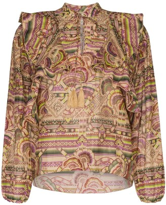 CHUFY Nina printed cotton and silk-blend blouse