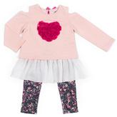 Little Lass Blush Heart Ruffle Tunic & Floral Leggings - Toddler & Girls