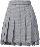 Thom Browne Dropped-Back Mini Pleated Skirt with Fray in Hopsack-Check Wool Suiting