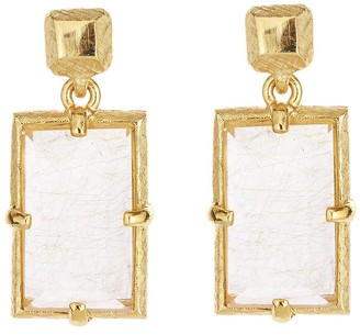 Oscar de la Renta Rutilated Quartz Earrings