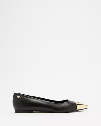 Love Moschino Women's Black Ballet Flats - Toe Cap Ballerina Flats - Size 38 at The Iconic