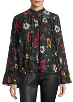McQ by Alexander McQueen Shirred Floral Chiffon Blouse, Black/Multicolor