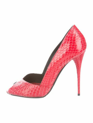 Balmain Snakeskin Pumps Red