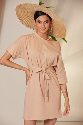 Jenerique Wrap Mini Sumeer dress with Open Shoulder in Beige colour