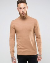 Hugo By Hugo Boss Roll Neck Jumper Texture Stripe
