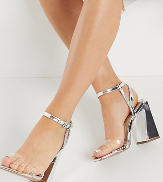 ASOS DESIGN Wide Fit Watson high heeled sandals in silver
