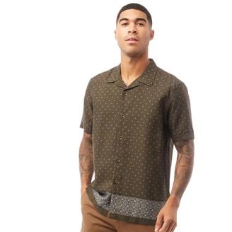 Ted Baker Mens Tyles Short Sleeve Printed Geo Shirt Dark Green