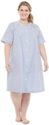 Miss Elaine Plus Size Essentials Seersucker Short Snap Robe