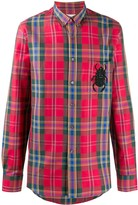 Alexander McQueen Chest Beetle Patch Plaid Shirt