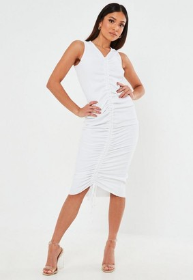Missguided White Rib Ruched Sleeveless Midi Dress